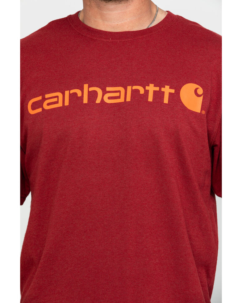 Carhartt Men's Signature Logo Short Sleeve Work T-Shirt , Heather Red, hi-res