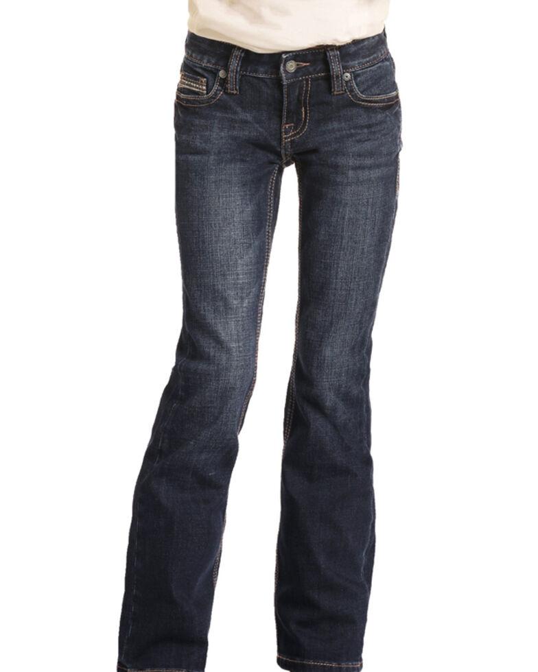 Rock & Roll Denim Girls' Dark Wash Stitched Bootcut Jeans , Blue, hi-res