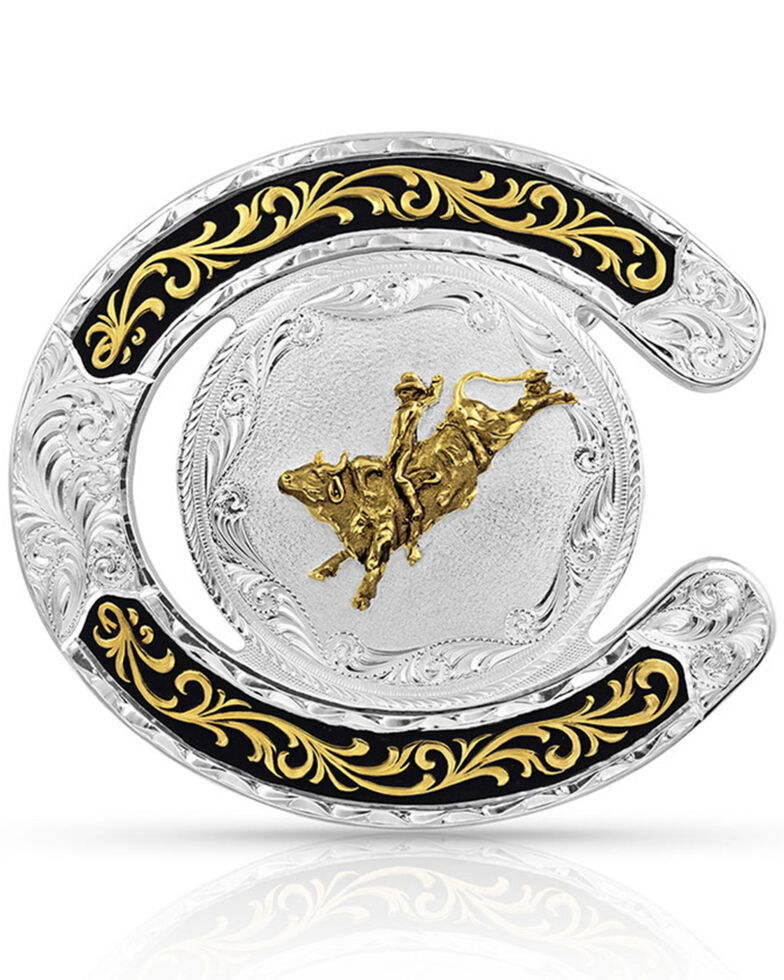 Montana Silversmiths Men's Two Tone Horseshoe Bull Rider Buckle, Silver, hi-res