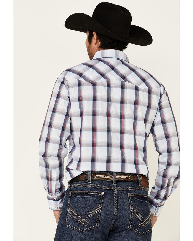 Wrangler Men's Blue Large Plaid Long Sleeve Fashion Snap Western Shirt - Big, Blue, hi-res