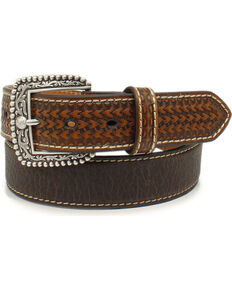 Ariat Men's Brown Basketweave Belt, Brown, hi-res