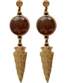Shyanne Women's Arrowhead and Amber Stone Earrings, Silver, hi-res