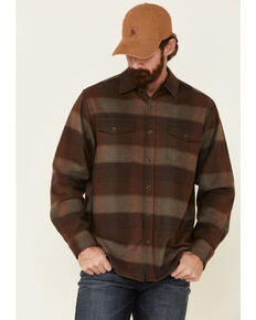 North River Men's Dark Brown Patina Large Plaid Western Flannel Shirt Jacket , Brown, hi-res