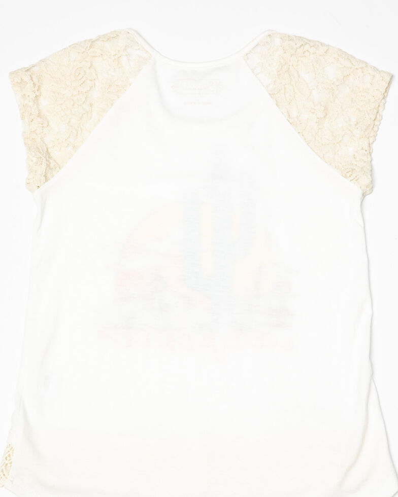 Shyanne Girls' Explore Lace Sleeve Top, Ivory, hi-res