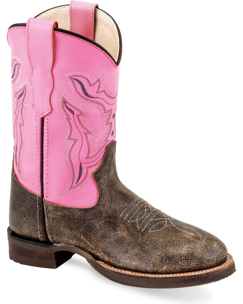 Old West Girls' Distressed Brown/Pink Leather Cowgirl Boots - Round Toe, Brown, hi-res