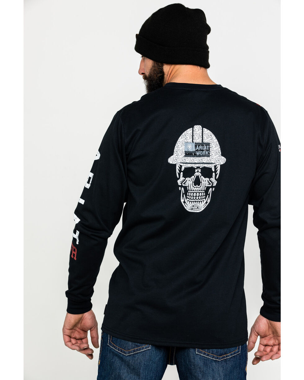 Ariat Men's FR Roughneck Skull Logo Crew Long Sleeve Work Tee, Black, hi-res