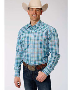 Roper Amarillo Men's Cold Creek Plaid Long Sleeve Western Shirt , Blue, hi-res