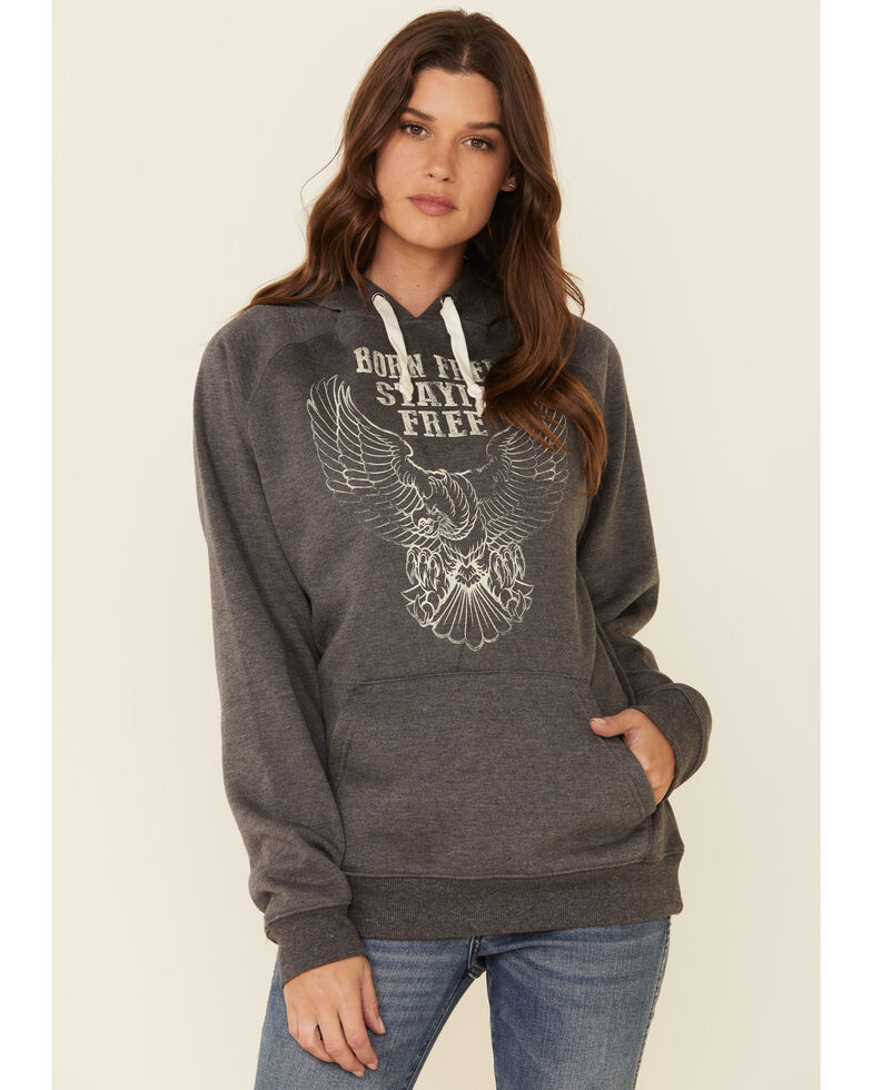 Cowgirl Tuff Women's Charcoal Born Free Graphic Hooded Sweatshirt , Charcoal, hi-res