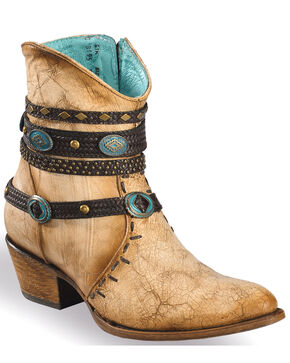 Corral Women's Ivory Bone Zipper and Studded Harness Boots - Medium Toe, Beige/khaki, hi-res