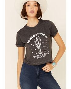 Ali Dee Women's Heather Charcoal Howdywood Graphic Short Sleeve Crop Tee , Charcoal, hi-res
