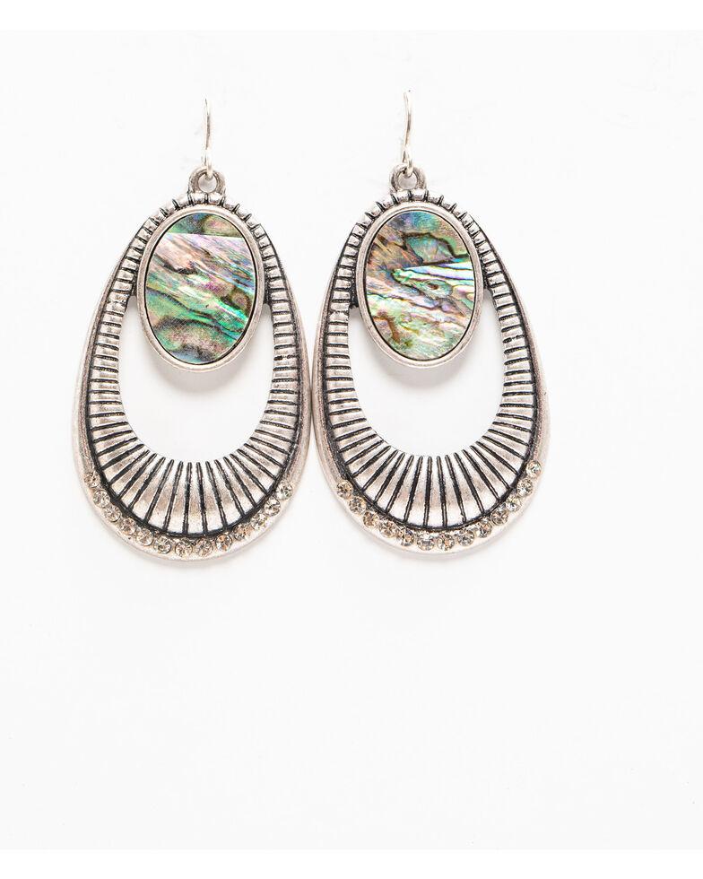 Shyanne Women's Autumn Teardrop Abalone Open Earring , Silver, hi-res