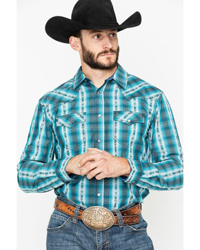 Cody James Men's Native Spirit Plaid Long Sleeve Western Shirt - Big, Turquoise, hi-res