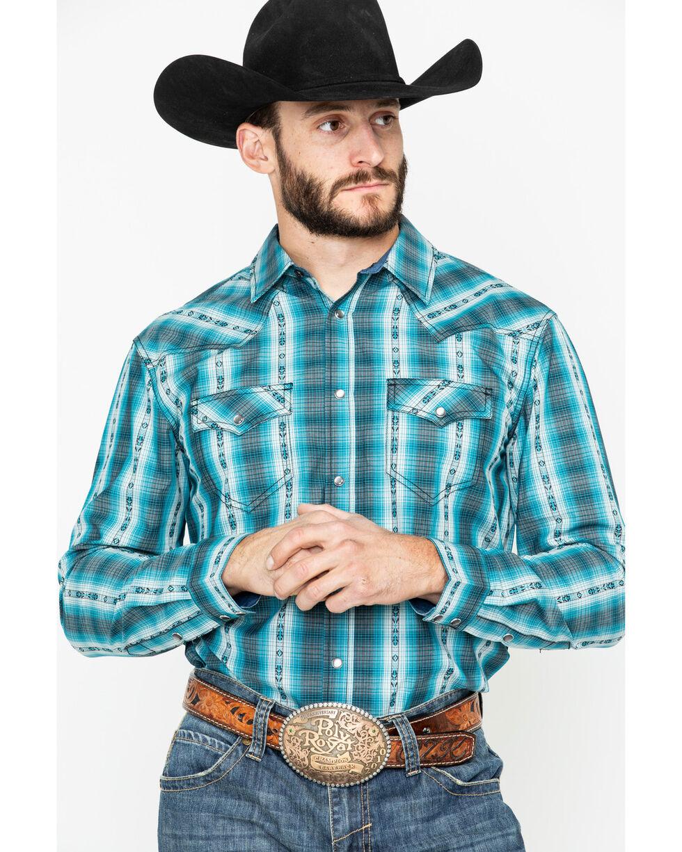 Cody James Men's Native Spirit Plaid Long Sleeve Western Shirt - Big, Turquoise, hi-res