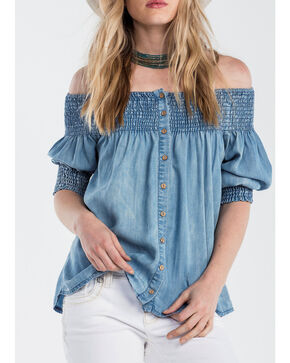 Miss Me Women's Denim Off the Shoulder Top, Indigo, hi-res