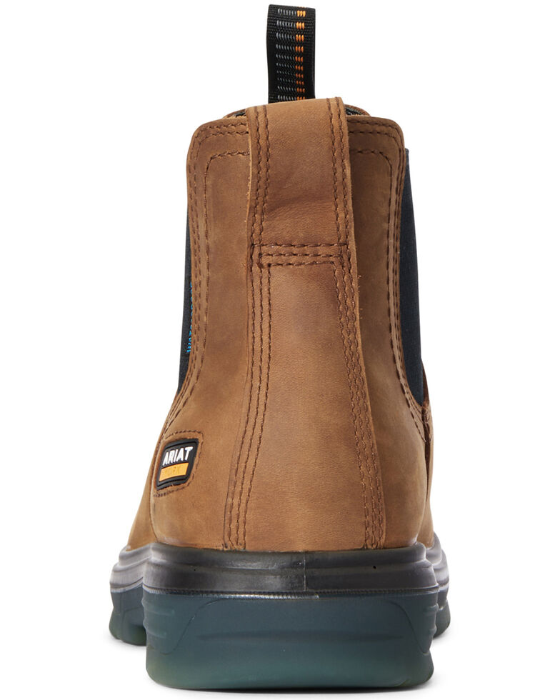 Ariat Men's Turbo Chelsea Waterproof Work Boots - Soft Toe, Brown, hi-res