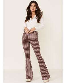 Rock & Roll Denim Women's Maroon Stripe Flare Jeans , Maroon, hi-res