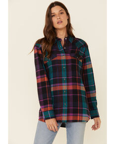 Wrangler Women's Multi Plaid Boyfriend Western Flannel Shirt , Multi, hi-res