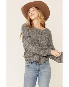 Peach Love Women's Grey Textured Pullover Sweatshirt , Grey, hi-res