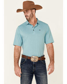 Cinch Men's Arena Flex Solid Light Blue Short Sleeve Polo Shirt , Light Blue, hi-res