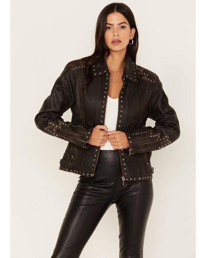 Cripple Creek Women's Chocolate Hand Laced Nappa Zip-Front Jacket , Chocolate, hi-res