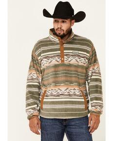 Cinch Men's Olive Aztec Print Fleece 1/4 Snap Pullover , Olive, hi-res