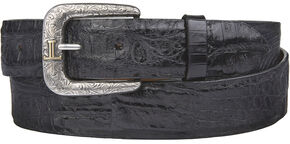 Lucchese Men's Black Hornback Caiman Leather Belt, Black, hi-res
