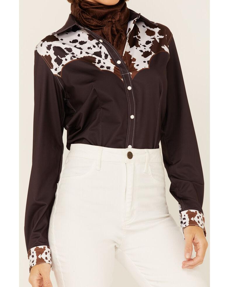 Ranch Dress'n Women's Cattle Drive Print Yoke Long Sleeve Snap Western Core Shirt , Brown, hi-res
