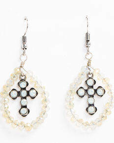 Shyanne Women's Opaque White Glass Beads Crystal Cross Earrings, Silver, hi-res