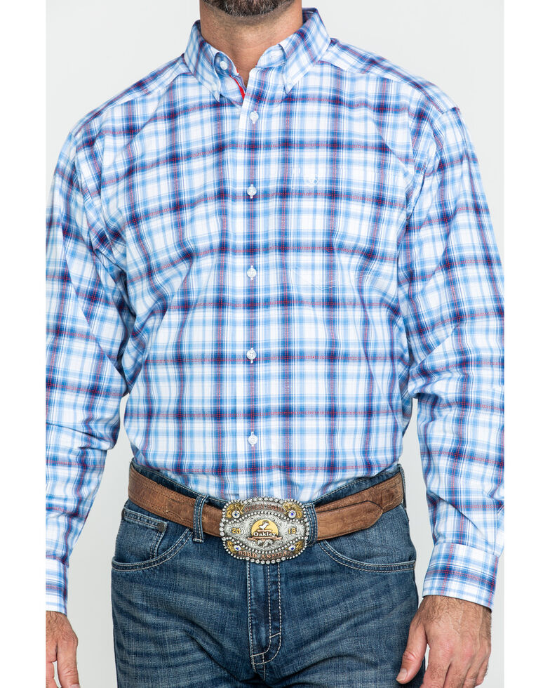 Ariat Men's Gilroy Multi Small Plaid Long Sleeve Western Shirt , Multi, hi-res