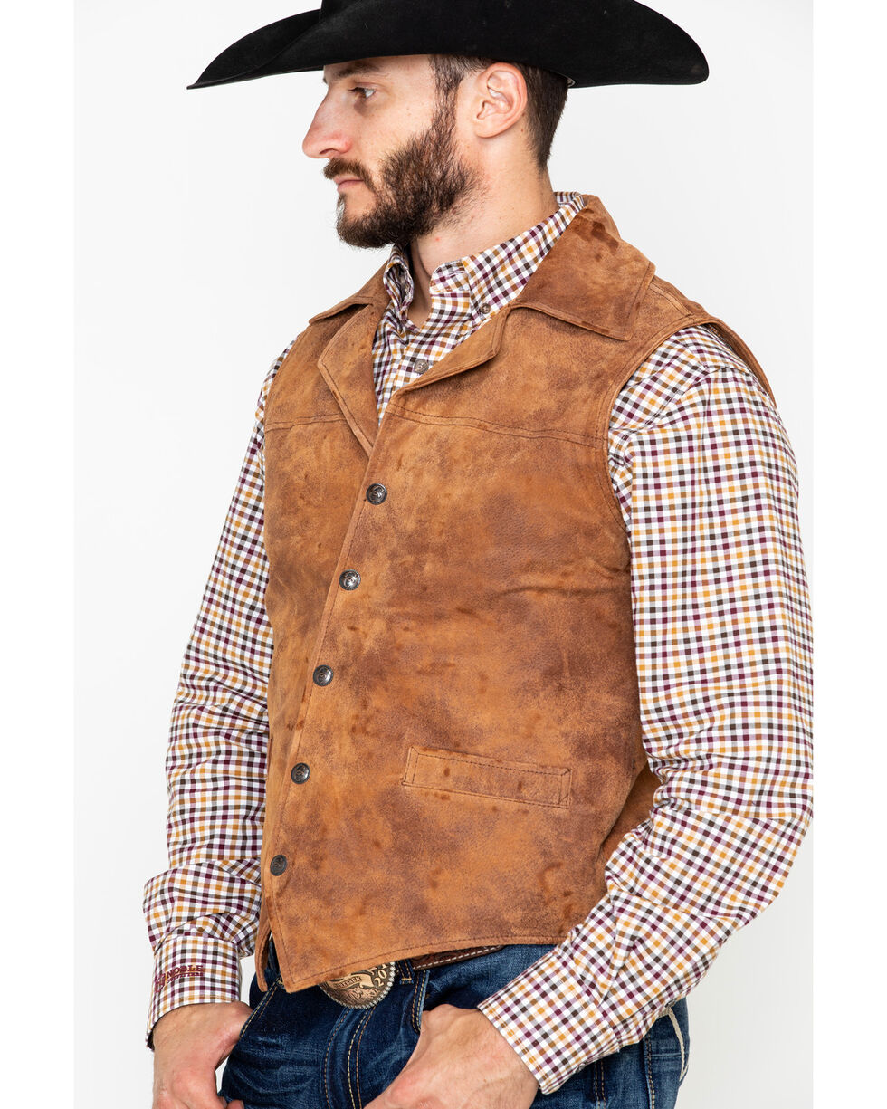 Circle S Men's Leather Whiskey Snap Front Vest , Brown, hi-res