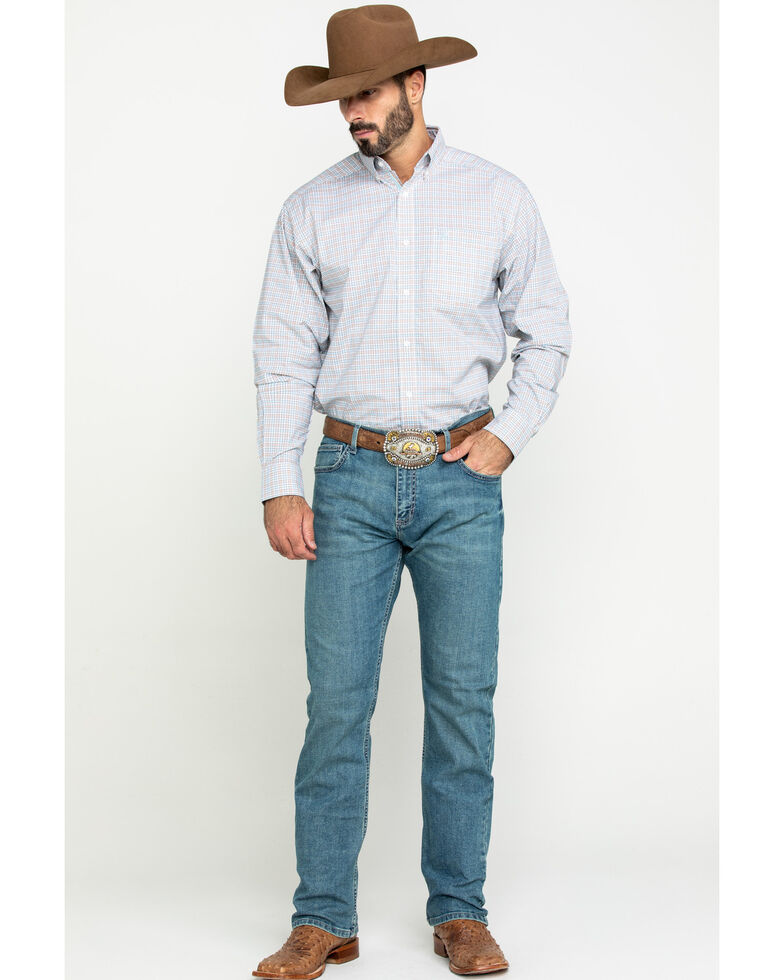 Ariat Men's Lynwood Plaid Long Sleeve Western Shirt , White, hi-res