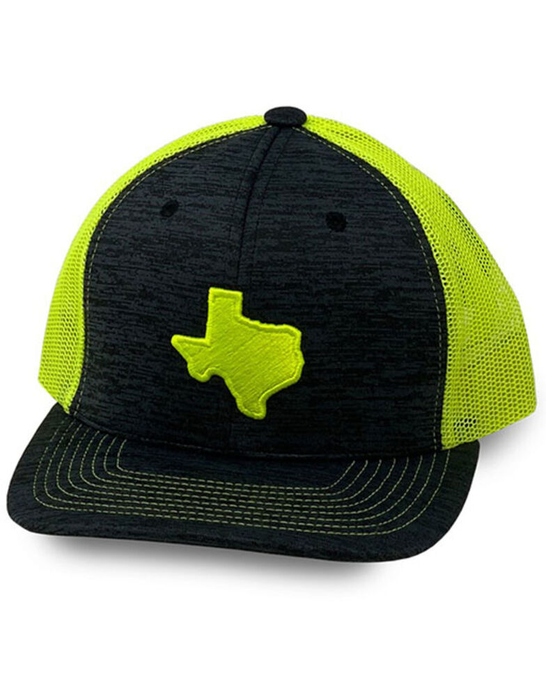 Oil Field Hats Men's Heather Lime Green Texas Patch Mesh-Back Ball Cap , Charcoal, hi-res
