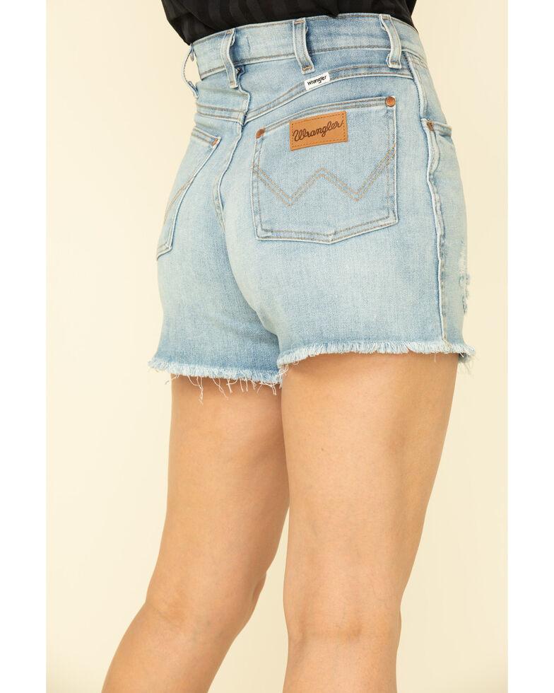 Wrangler Modern Women's Light Wash High Rise Raw Shorts , Blue, hi-res