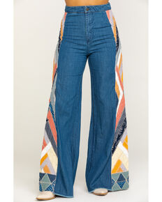 Free People Women's Stick By Your Side Patched Jeans, Navy, hi-res