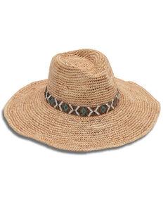 Nikki Beach Women's Metallic Diamonds Raffia Western Straw Hat  , Natural, hi-res