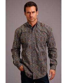 Stetson Men's Grey Antique Paisley Print Long Sleeve Western Shirt , Grey, hi-res