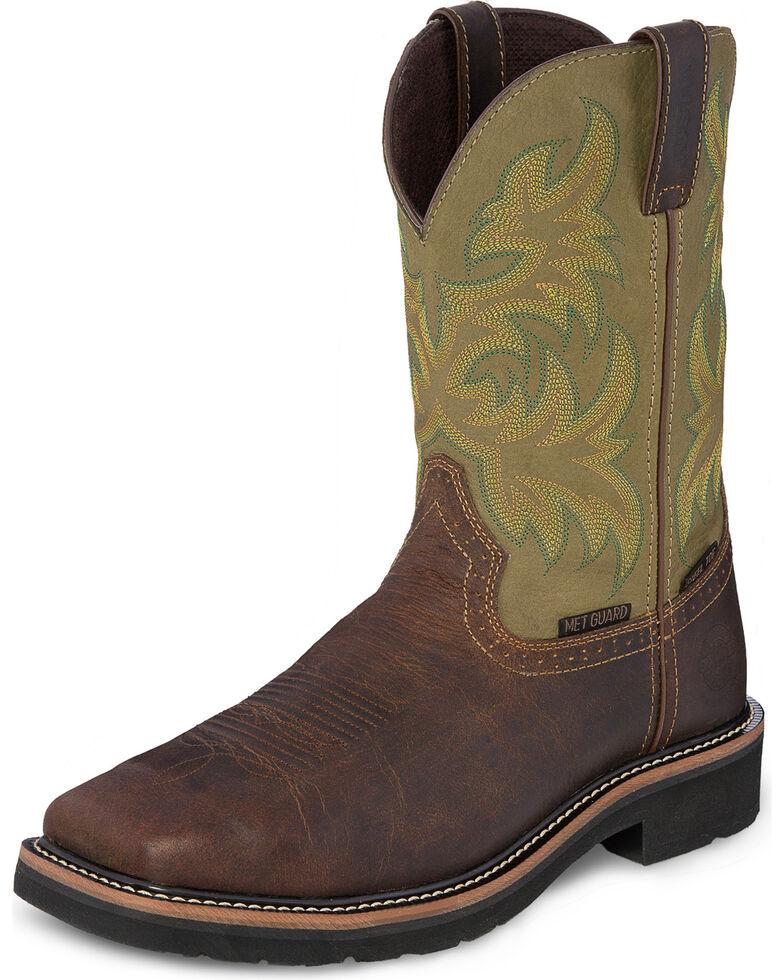 Justin Men's Stampede Keavan MetGuard EH Waterproof Work Boots - Steel Toe, Brown, hi-res