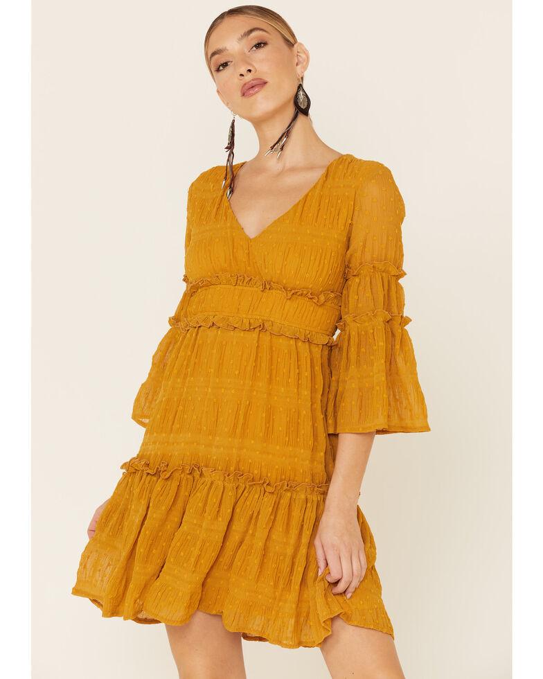 Sadie & Sage Women's Mustard Annabell Lace Dress, Mustard, hi-res