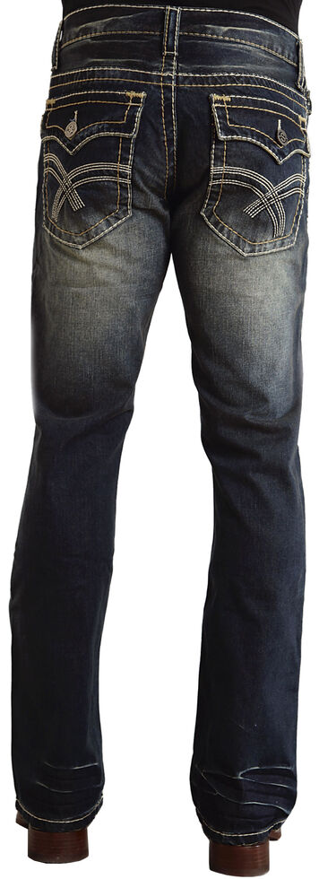 """Stetson Rock Fit Curved """"X"""" Stitched Flap Pocket Jeans, Dark Stone, hi-res"""