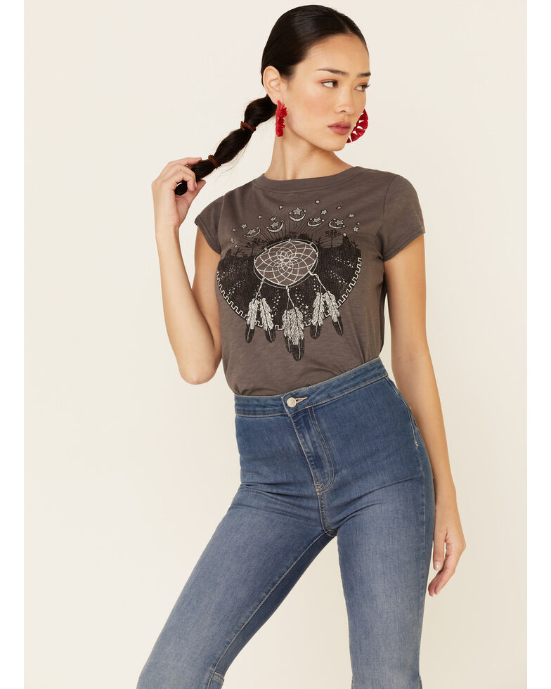 Shyanne Women's Desert Dream Weaver Graphic Tee , Charcoal, hi-res