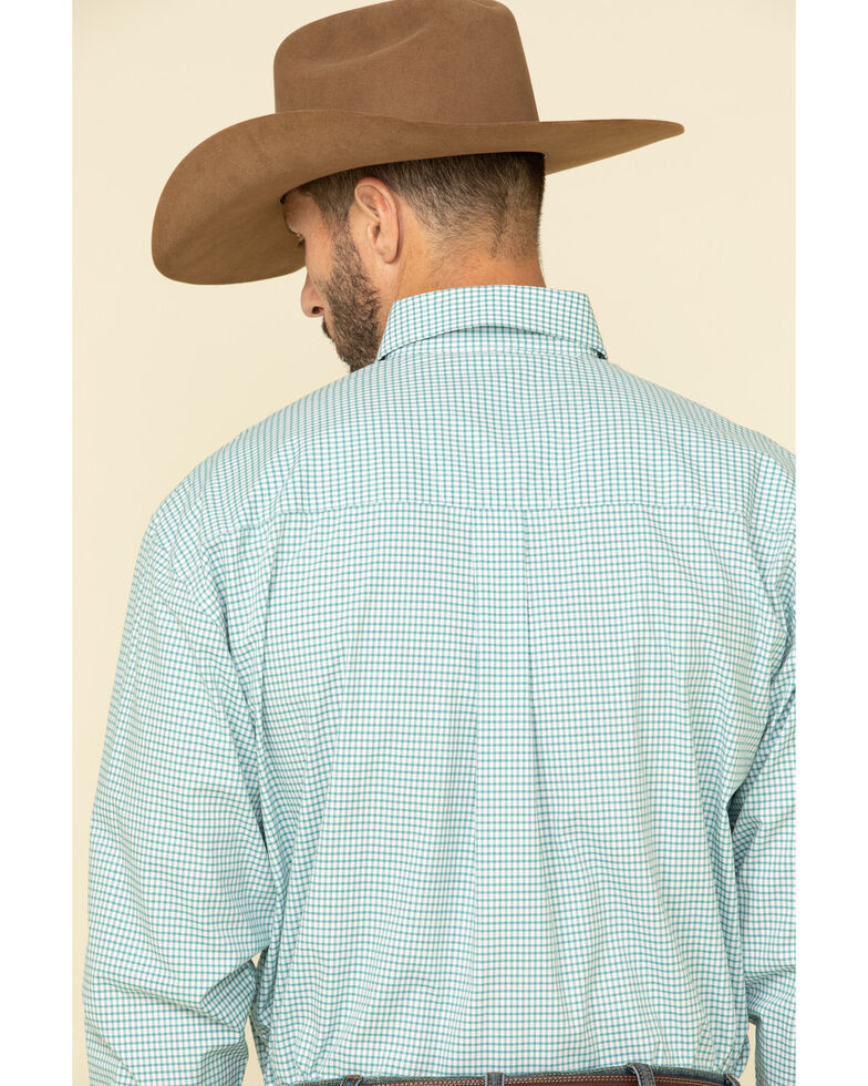 George Strait by Wrangler Men's Teal Small Check Plaid Long Sleeve Western Shirt , Teal, hi-res