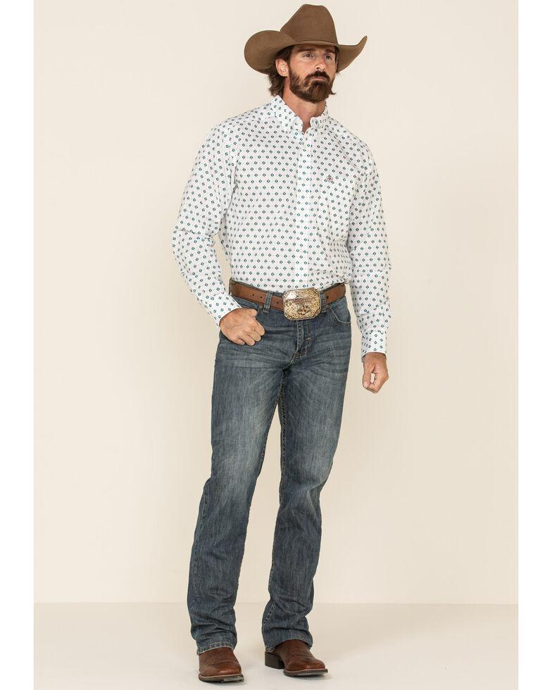 Ariat Men's Ollie Aztec Geo Print Long Sleeve Western Shirt - Tall , White, hi-res