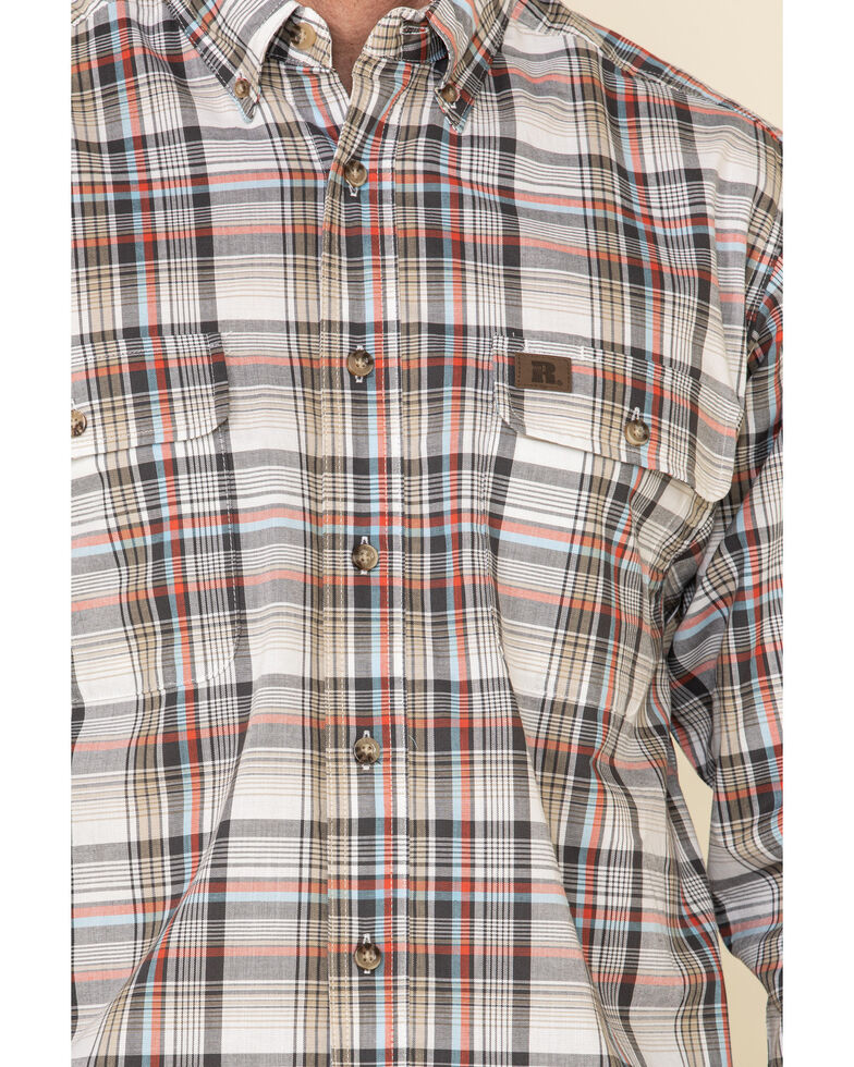 Wrangler Riggs Men's White Plaid Foreman Long Sleeve Work Shirt , White, hi-res