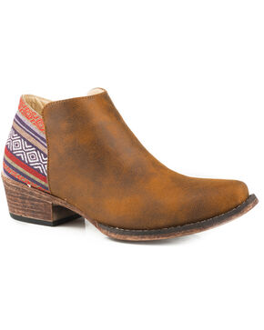 Roper Women's Brown Sedona Booties - Snip Toe, Brown, hi-res