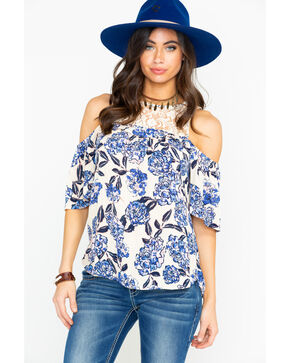 Shyanne Women's Floral Cold Shoulder Blouse , Ivory, hi-res