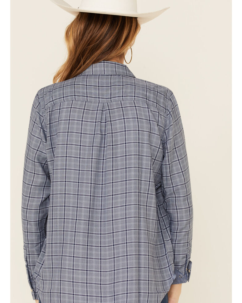Flag & Anthem Women's Solana Classic Plaid Long Sleeve Snap Western Core Shirt , Blue, hi-res