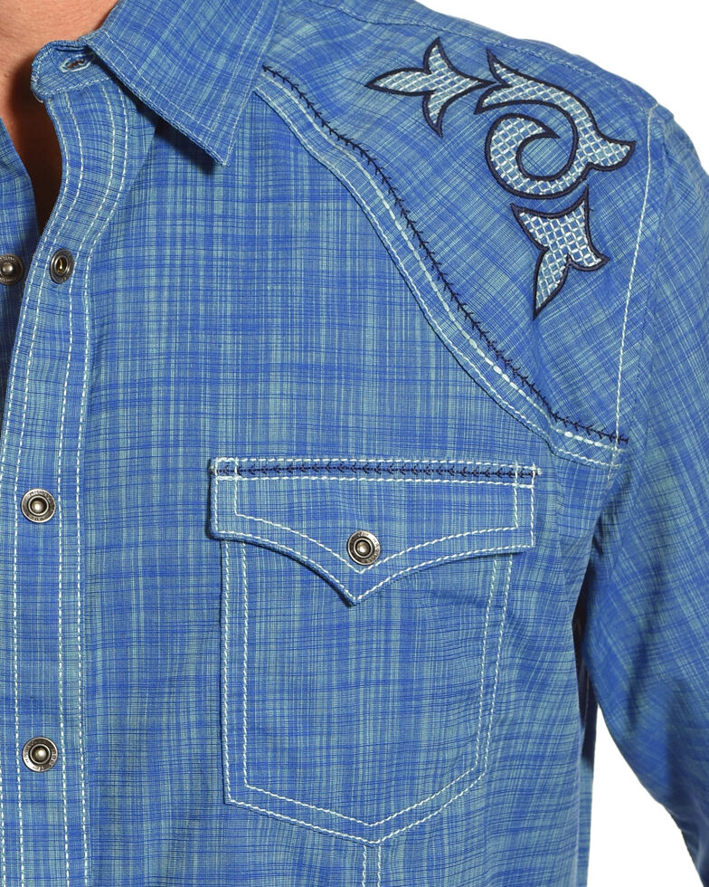 Rock 47 by Wrangler Men's Blue Rancher Long Sleeve Western Snap Shirt, Blue, hi-res