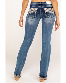 Grace in LA Women's Medium Wash Patchwork Bootcut Jeans, Blue, hi-res