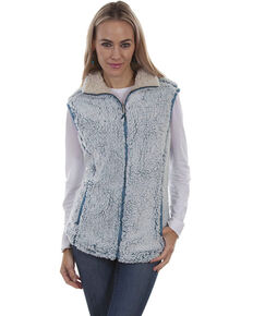 Honey Creek by Scully Women's Sherpa Zip Vest, Aqua, hi-res
