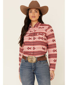 Ariat Women's R.E.A.L Adorable Red Serape Print Long Sleeve Western Core Shirt , Red, hi-res